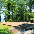 The park's amphitheater with a river view.- York River State Park