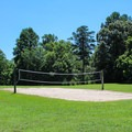 A volleyball court near picnic areas.- York River State Park