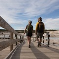 Boardwalks access Porcelain Basin.- Norris Geyser Basin