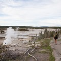 Porcelain Basin in the background with Steamboat Geyser steaming.- Norris Geyser Basin