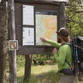 Confirming the route at Biscuit Basin Trailhead.- Firehole Meadows: Biscuit Basin to Freight Road