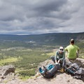 Taking a break at Lower Geyser Basin Overlook.- Firehole Meadows: Biscuit Basin to Freight Road