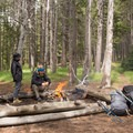 Enjoying a fire in backcountry campsite OD2.- Firehole Meadows: Biscuit Basin to Freight Road