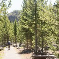 Hiking away from Fairy Falls.- Firehole Meadows: Biscuit Basin to Freight Road
