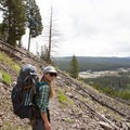 Hiking up onto the Madison Plateau.- Firehole Meadows: Biscuit Basin to Freight Road