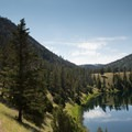 Crevice Lake, near Knowles Falls, is a great side trip for extending the hike.- Black Canyon of the Yellowstone