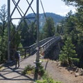 The suspension bridge over the Yellowstone River on the Hellroaring Trail.- Black Canyon of the Yellowstone