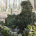 Remains of wishing well from the 1880s, the second oldest structure still standing.- Rose Island