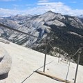 Looking down the cables from the top of Half Dome. - Half Dome via Mist Trail