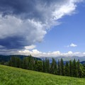A fantastic view of the Gallatin Range (and an approaching storm) in Yellowstone.- Bacon Rind Creek