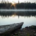 A peaceful morning on Lower Twin Lake.- Twin Lakes Loop