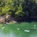 The water at Mead's Quarry runs 80 to 100 feet deep throughout the 25-acre lake.- Mead's Quarry