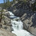 Top of Yosemite Falls.- North Rim Hike: Big Oak Flat Road to Mirror Lake
