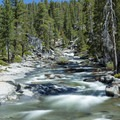 Yosemite Creek at the top of Yosemite Falls.- North Rim Hike: Big Oak Flat Road to Mirror Lake