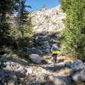 The final switchback ascent to Ten Lakes Pass in Yosemite National Park.- Ten Lakes