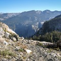 The upper reaches of the Hetch Hetchy Valley in Yosemite National Park, viewed from Ten Lakes Pass.- Ten Lakes