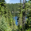 Lower Erma Bell Lake from the trail to the middle lake.- Erma Bell Lakes