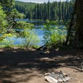 Backcountry campsite on the edge of Middle Erma Bell Lake.- Erma Bell Lakes