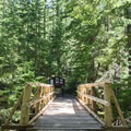 Footbridge over the creek near the campground and trailhead.- Erma Bell Lakes