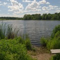 A bench at a fishing spot along the pond.- Ooms Conservation Area at Sutherland Pond