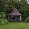 A gazebo along the Green Trail.- Ooms Conservation Area at Sutherland Pond