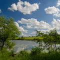 An open area along the pond offers a great view.- Ooms Conservation Area at Sutherland Pond