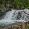 After navigating bedrock, portages, and debris, arrive at these falls, informally called Stromatolite Falls due to the sighting of the fossils in the bedrock upstream.- Siyeh Creek to St. Mary's Lake via Reynolds Creek