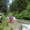 Scouting a line before putting back in.- Siyeh Creek to St. Mary's Lake via Reynolds Creek
