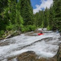 After a while, the creek opens up, and the slides get wider.- Siyeh Creek to St. Mary's Lake via Reynolds Creek