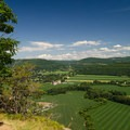 Looking out over the Schoharie Valley from the trail that follows the ridge.- Vroman's Nose