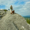 Walking on one of the many rock ledges.- Burnt Rock Mountain via Hedgehog Brook Trail