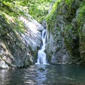Waterfall emptying into a deep pool just off of the Cedar Run Trail.- Whiteoak Canyon + Cedar Run Circuit