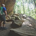 Looking up toward a steeper section of trail.- Hocking Hills State Park