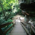Stairs leading down to Ash Cave.- Hocking Hills State Park
