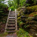 Wooden staircases erected help hikers over steep, rocky obstacles.- Elephants Head via Long Trail North