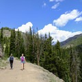 Early views of the lookout before entering a small forested patch on the trail.- Mount Washburn via Dunraven Pass