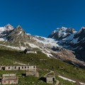 The peaks hovering over Rifugio Elisabetta.- Tour Du Mont Blanc (TMB) Overview