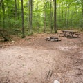 Typical campsite with tent pad, firepit, picnic table and food storage box.- Fourth Iron Campsites