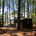 A cabin available for rent.- Jane's Island State Park Campground