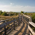 The walkway to the beach at the east end of the park via the campground.- First Landing State Park