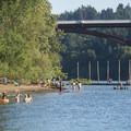 Sellwood Riverfront Park Beach looking south with the Sellwood Bridge in the distance.- Sellwood Riverfront Park Beach