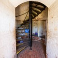 The stairs leading to the viewing area.- Cape Henry Lighthouse