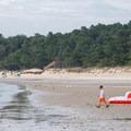 The beach at low tide at Kiptopeke State Park.- Kiptopeke State Park