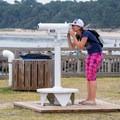 Using the free binoculars to view close-ups of the sunken ships.- Kiptopeke State Park