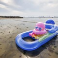 One of many small rafts people use to float in the calm waters.- Kiptopeke State Park