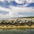 The jetty that separates the two sides of the beach.- Kiptopeke State Park