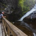 Dingmans Falls has a large platform at the bottom for your viewing pleasure. - Dingmans Falls