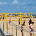 Volleyball nets on the sand.- Virginia Beach