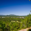 View of the Village of Lake Placid from the first lookout.- Cobble Hill