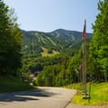 The entrance to the Whiteface Mountain Ski Center.- Stag Brook Trail